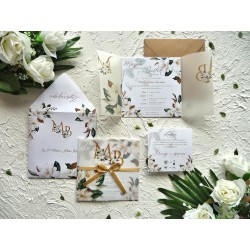 Zaproszenia ślubne z kalką biała Magnolia ZR82
