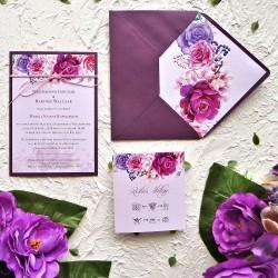 Zaproszenia ślubne w odcieniach fioletu ZR84