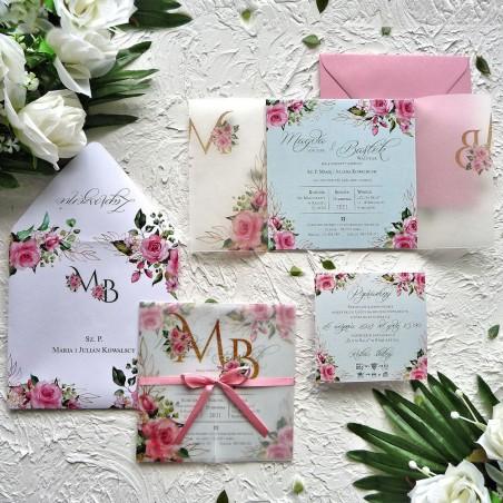 Zaproszenia ślubne z kalką i różowymi różami ZR82