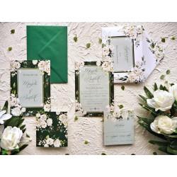 Zaproszenia ślubne białe róże ZR86