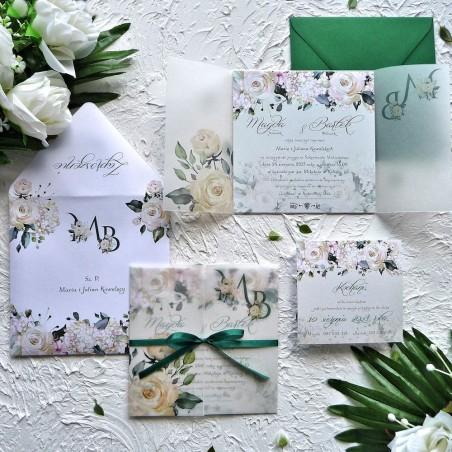 Zaproszenia ślubne kwiatowe z kalką kremowe róże ZR82