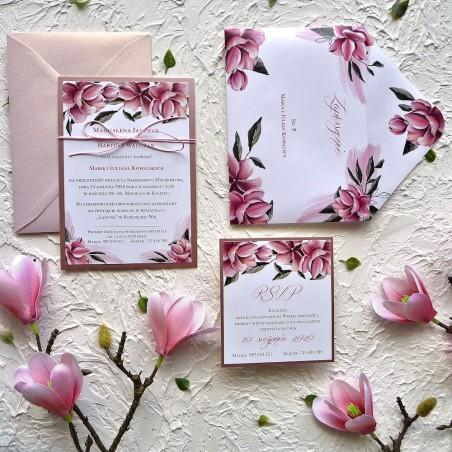 Zaproszenia ślubne lustrzane Magnolie ZR85