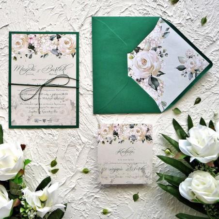 Zaproszenia ślubne kremowe Róże ZR84