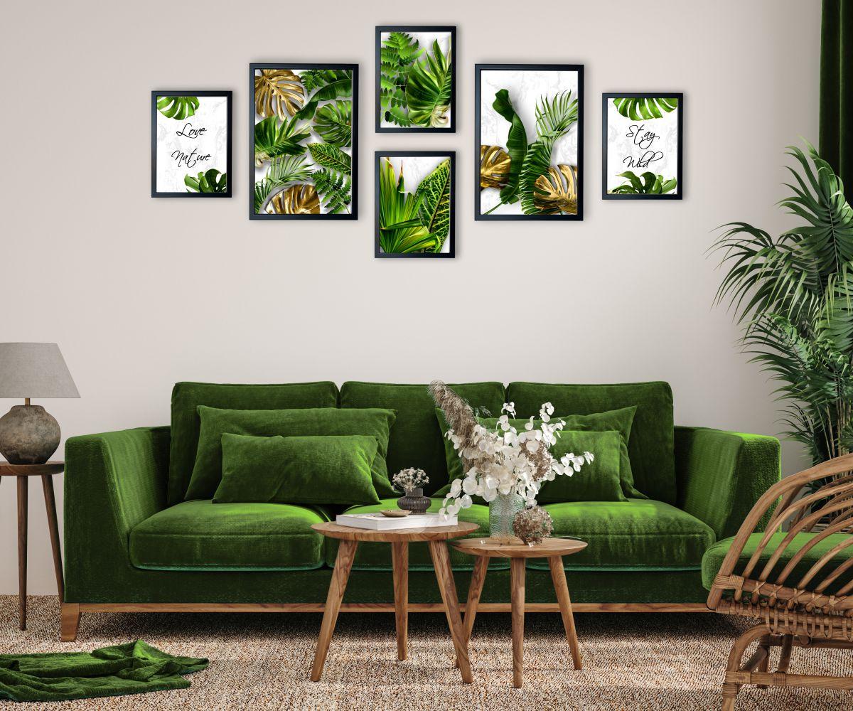 galeria tropical monstera jasna nad kanapą