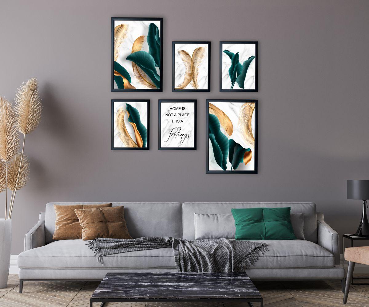 turkusowe liscie nad kanapą