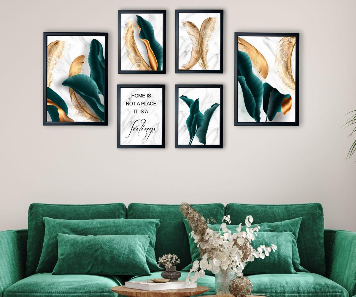 galeria turkusowe liście w salonie