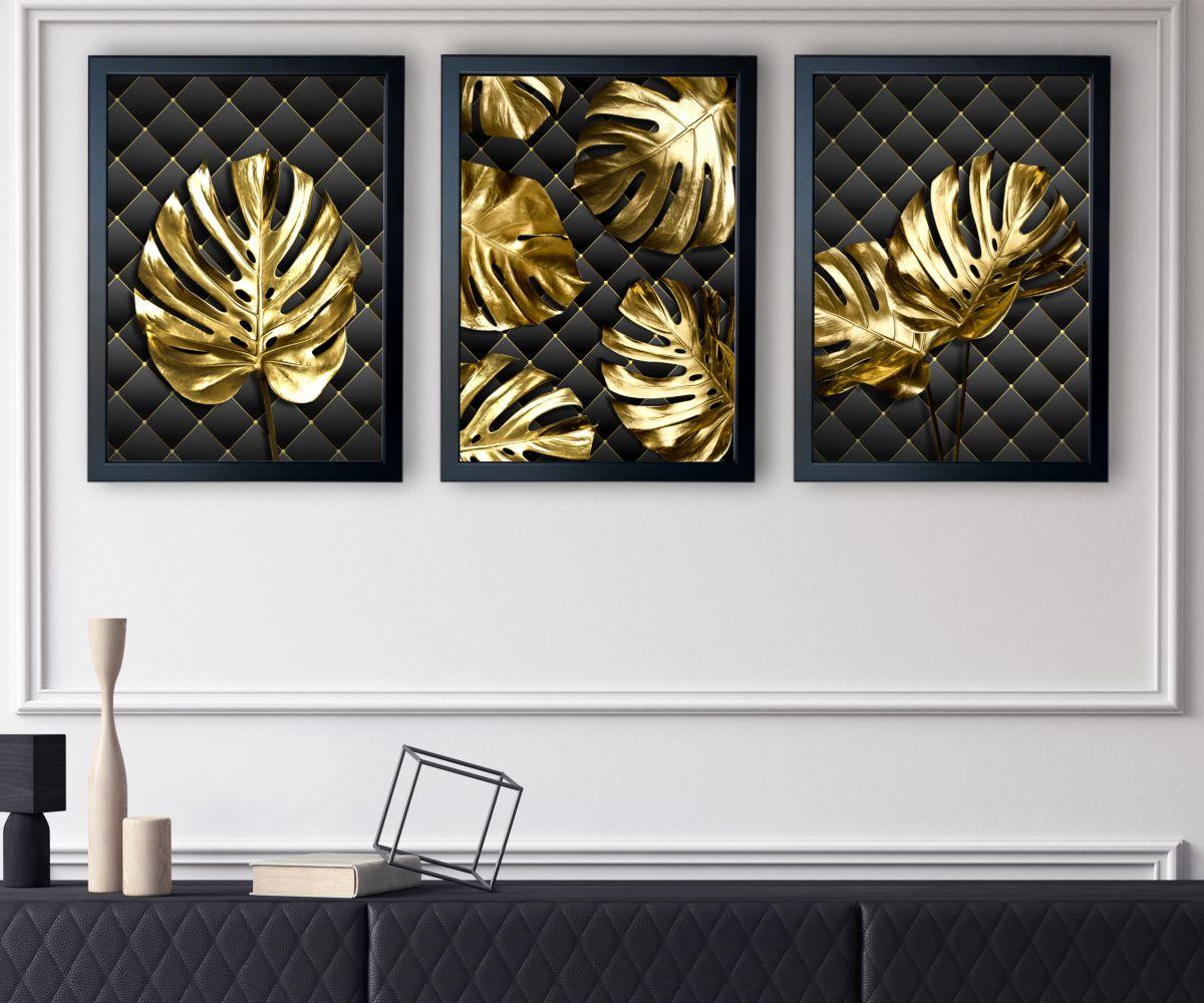 Monstera Gold w salonie zbliżenie