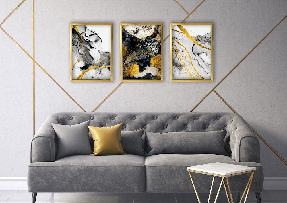 abstrakcja czarno-złota w salonie
