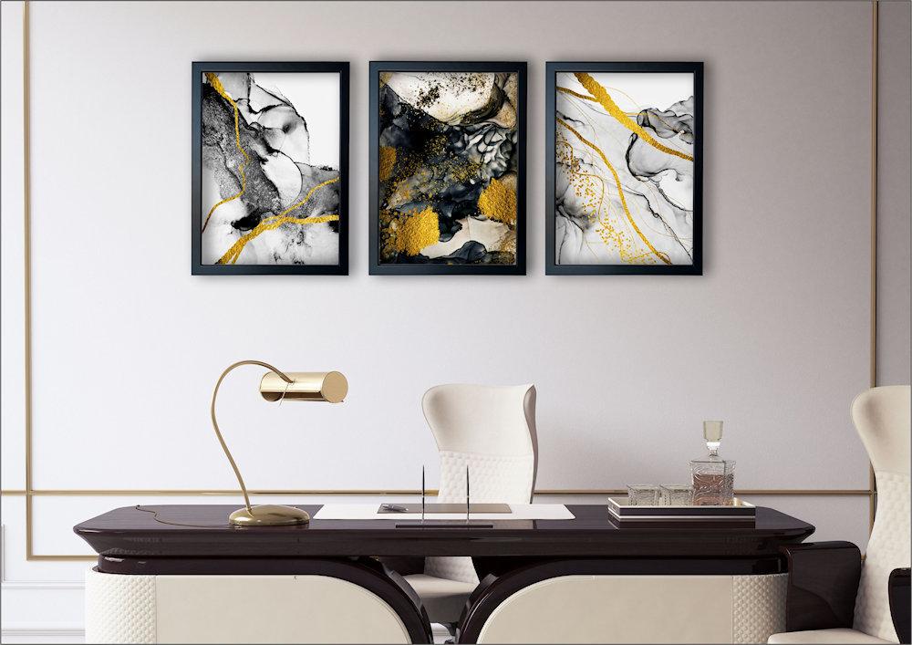 abstrakcja czarno-złota nad kanapą