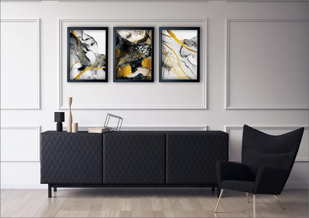 abstrakcja czarno-złota w salonie zbliżenie