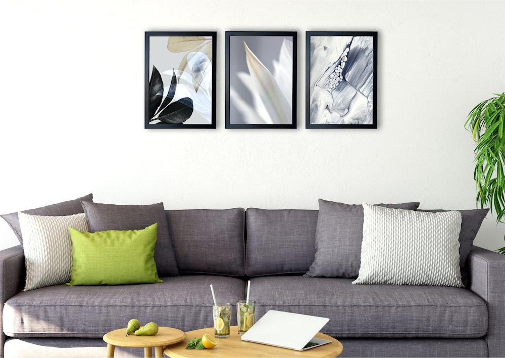 Obrazy biały kwiat nad kanapą
