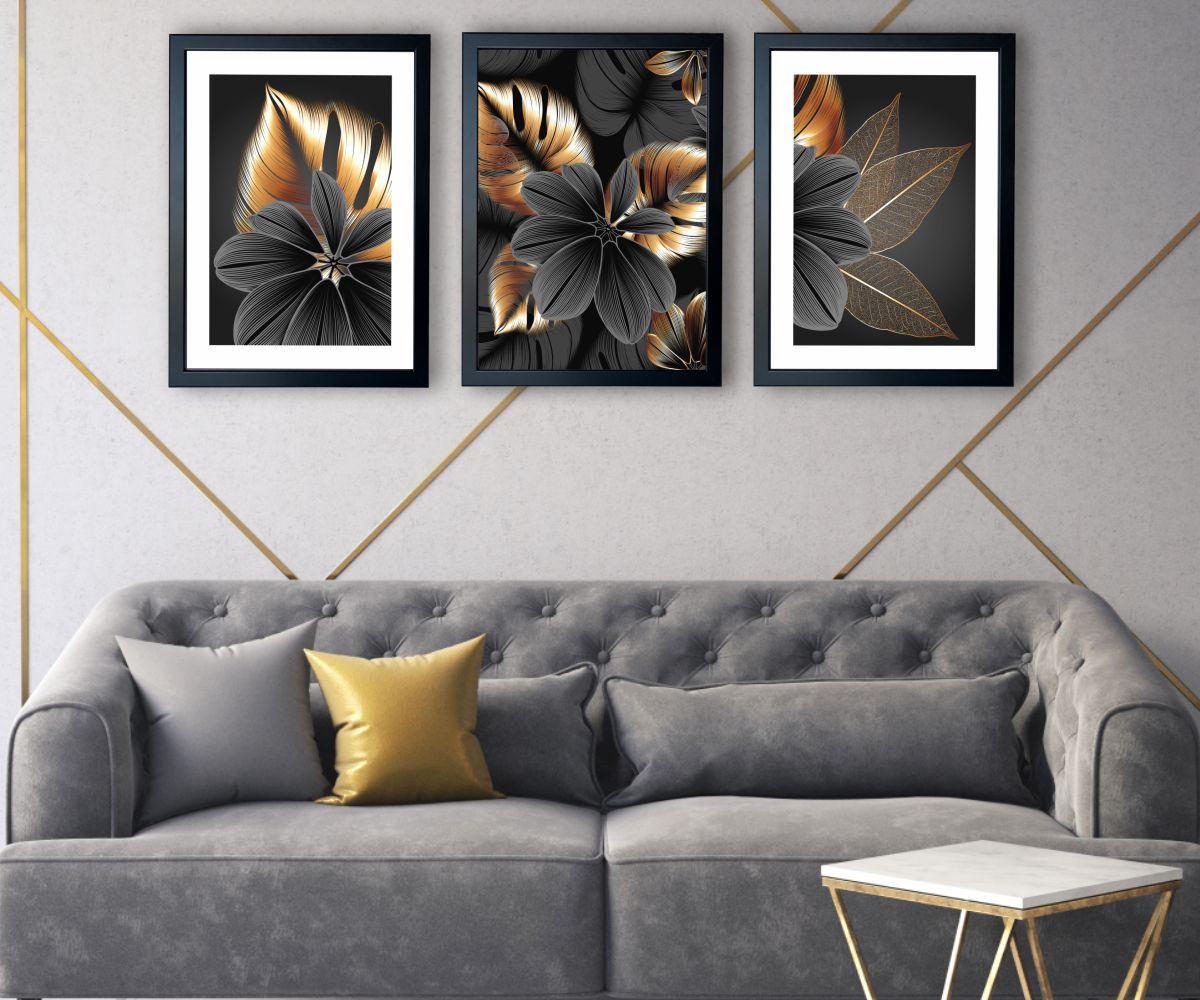 grafitowy kwiat nad kanapą
