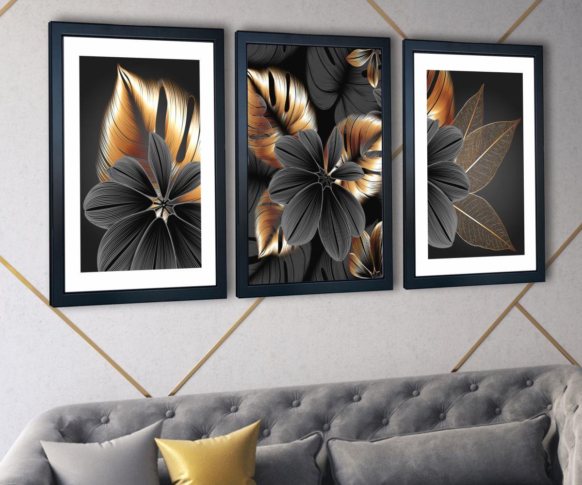 grafitowy kwiat nad stylową kanapą