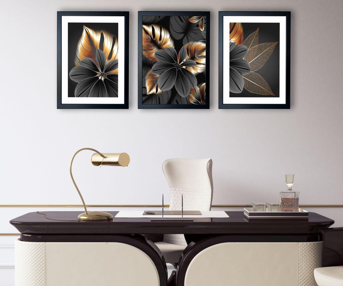 grafitowy kwiat nad stylową kanapą zbliżenie