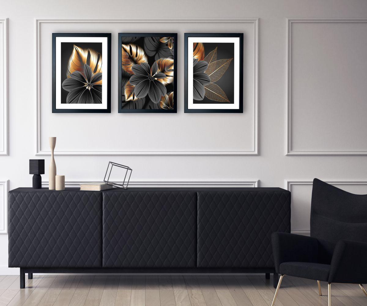 grafitowy kwiat w salonie