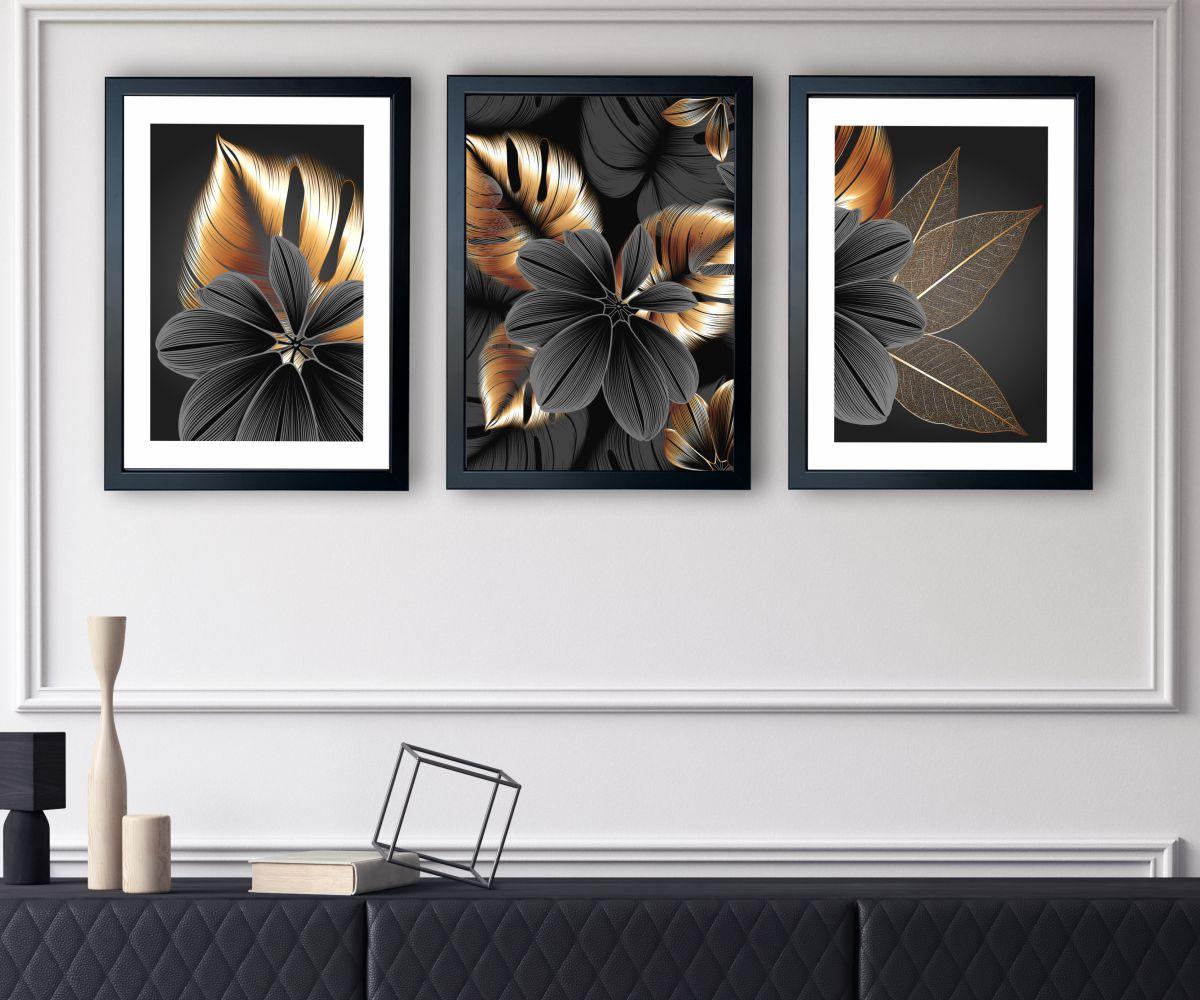 grafitowy kwiat w salonie zbliżenie