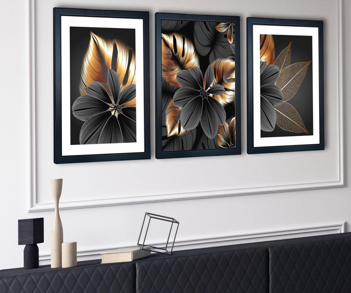 grafitowy kwiat w salonie z boku