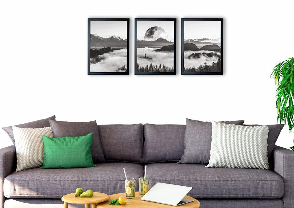 księżyc i las nad kanapą