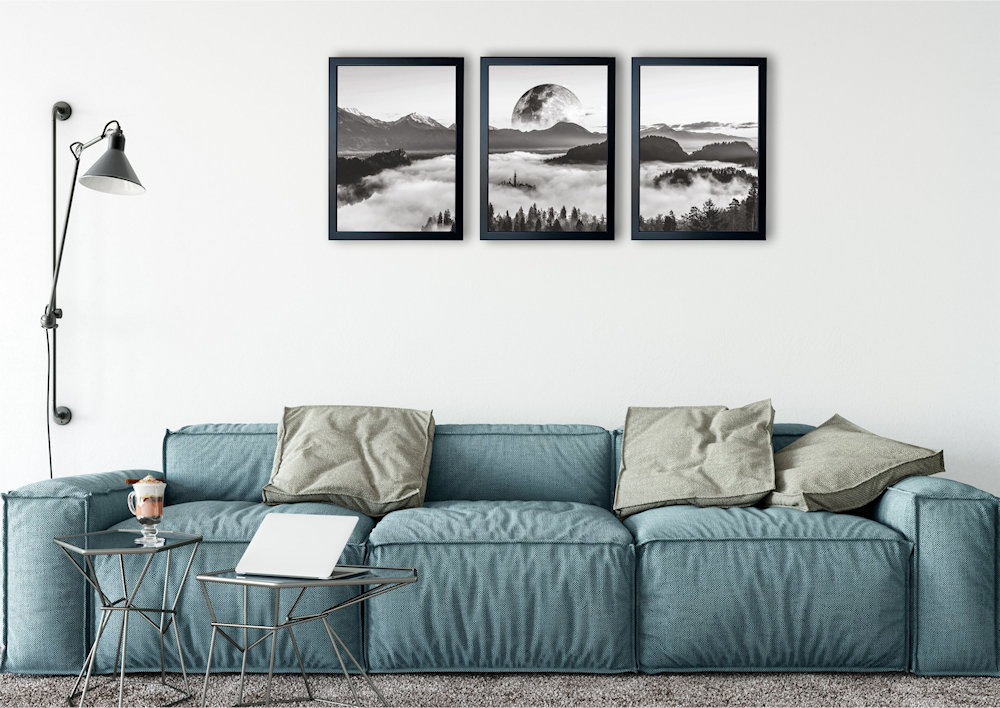 księżyc nad stylową kanapą pod kątem