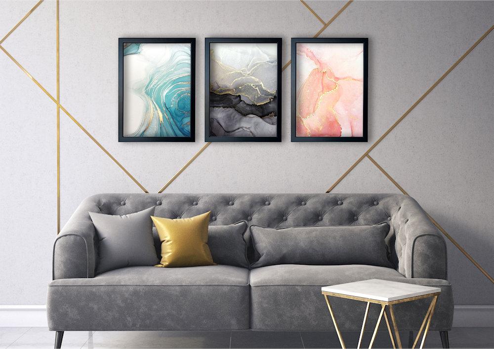 marmurowa abstrakcja nad kanapą
