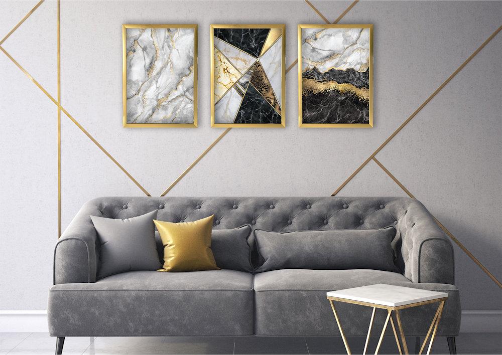 marmur złoty w salonie