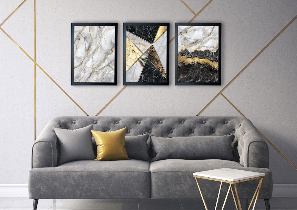 marmury szare nad kanapą