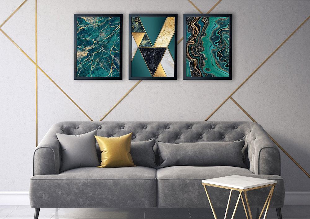 marmury turkusowe nad kanapą