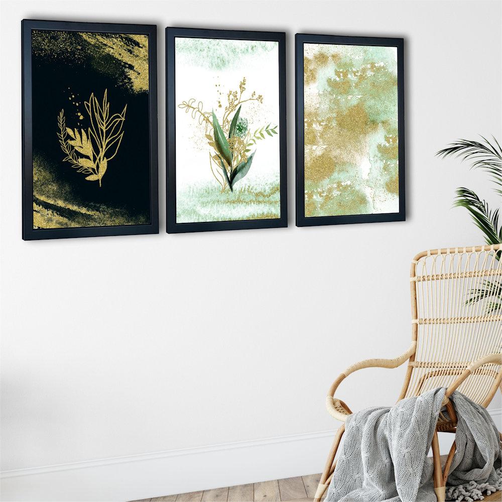 Obraz rośliny i złoty piasek na ścianie zbliżenie