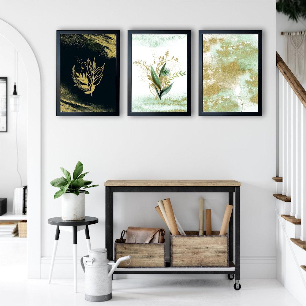 Obraz rośliny i złoty piasek na białej ścianie