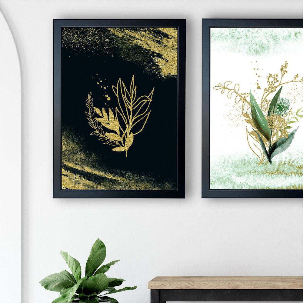 Obraz rośliny i złoty piasek na białej ścianie zbliżenie
