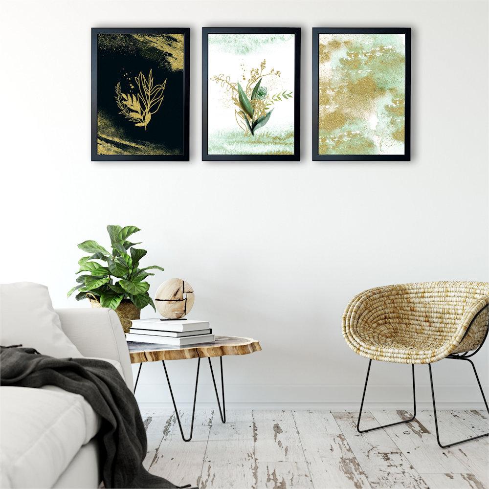 Obraz rośliny i złoty piasek nad stolikiem