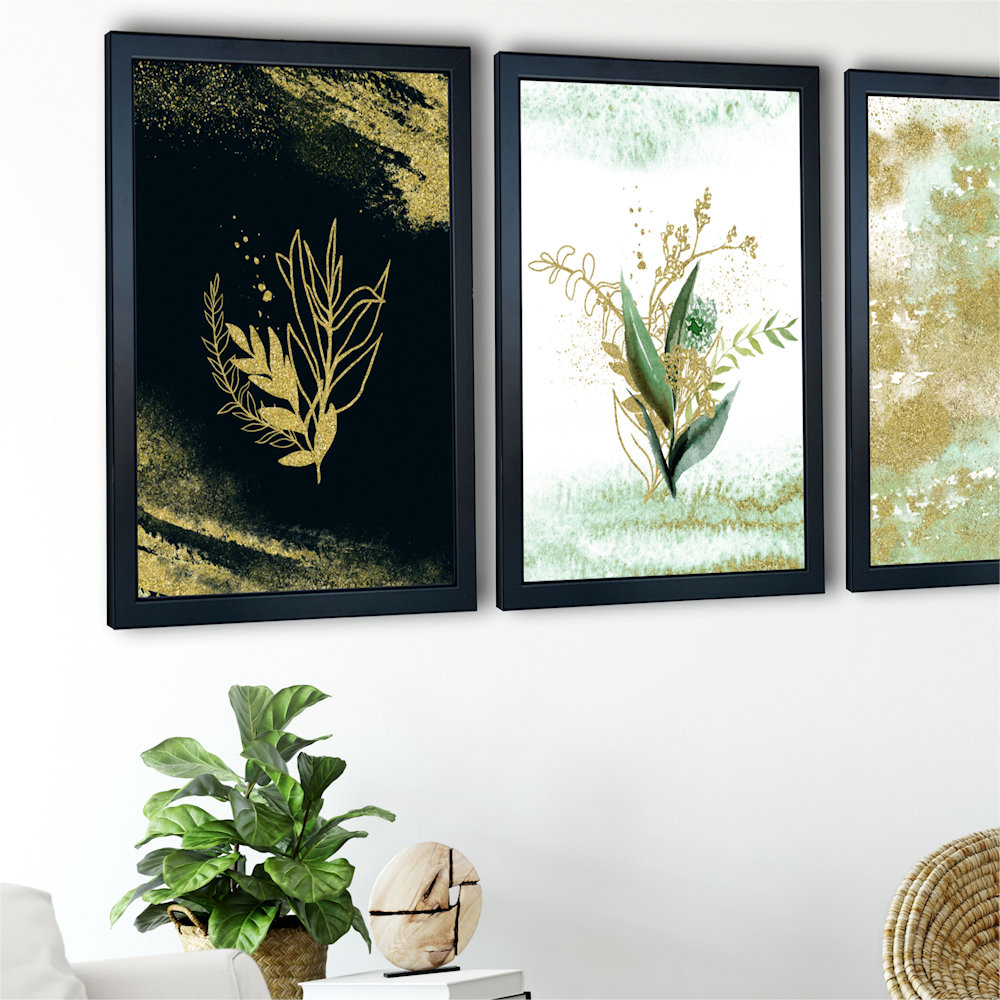 Obraz rośliny i złoty piasek nad stolikiem zbliżenie