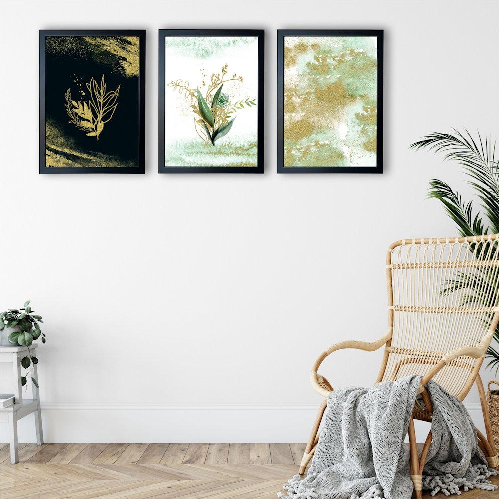 Obraz rośliny i złoty piasek na ścianie