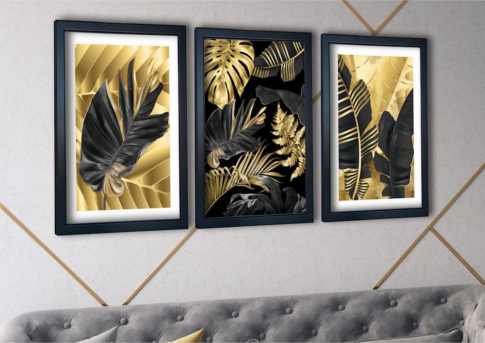 Tripokalne liście nad stylową kanapą