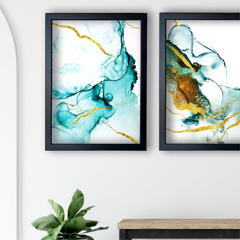 turkusowa abstrakcja w salonie zbliżenie
