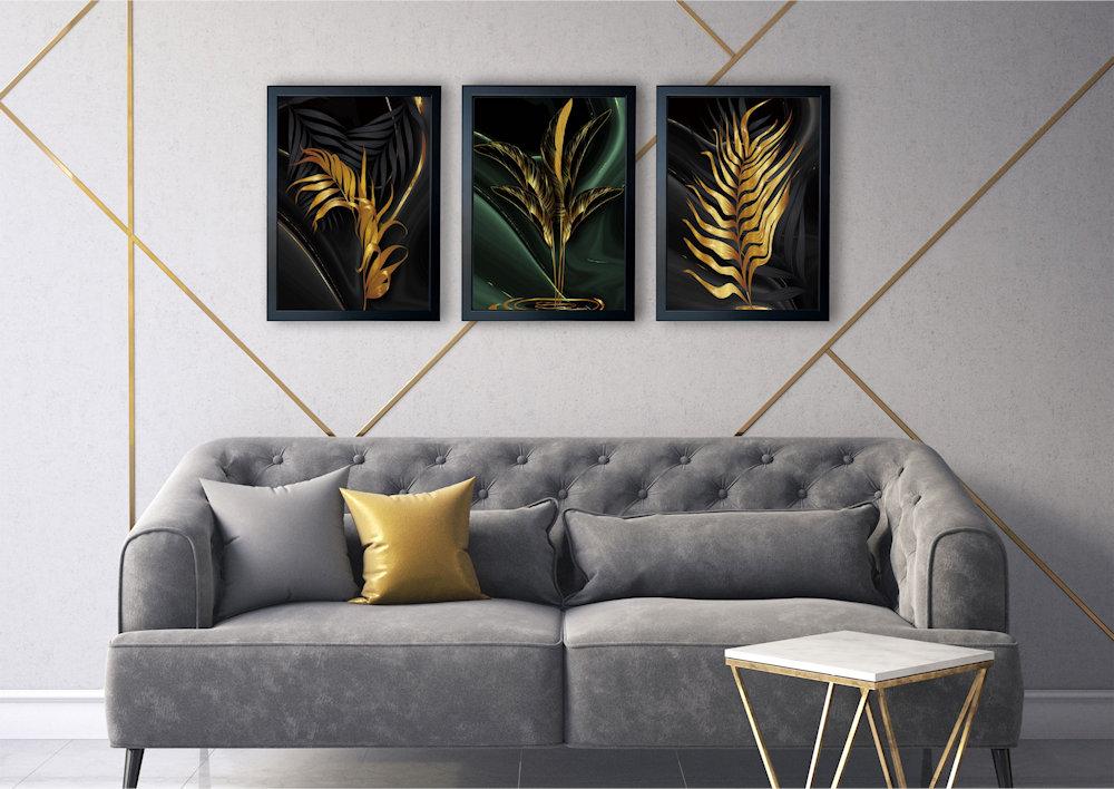 złote liście nad kanapą