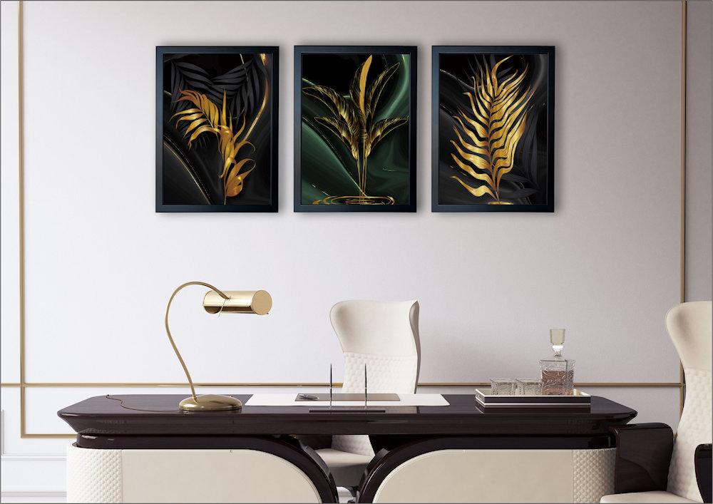 złote liscie w salonie