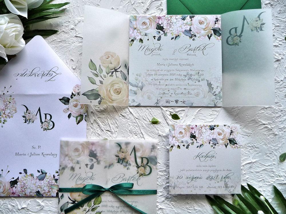 Zaproszenia ślubne z kalką kremowe róże ujęcie 2