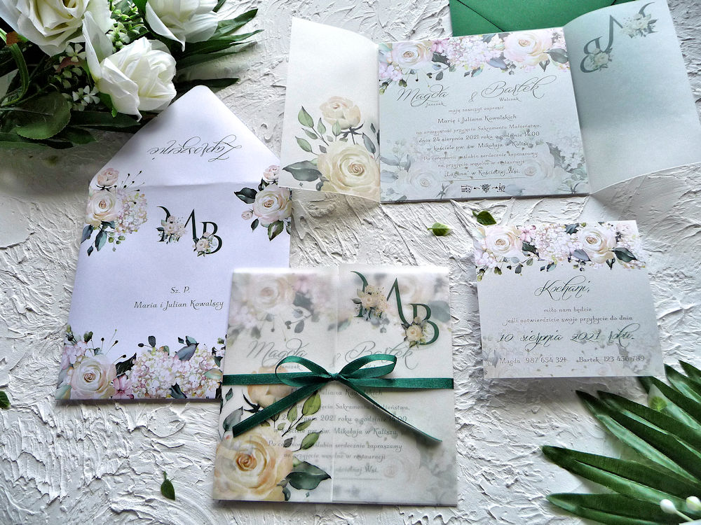Zaproszenia ślubne z kalką kremowe róże ujęcie 4