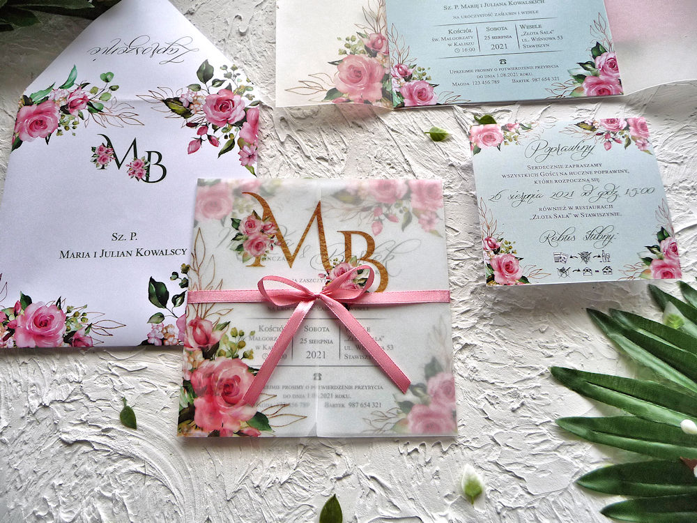 Zaproszenia ślubne z kalką różowe róże ujęcie 3