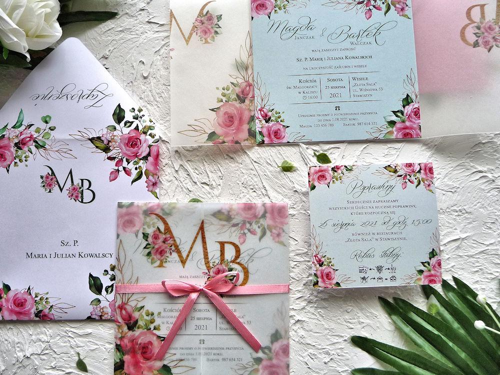 Zaproszenia ślubne z kalką różowe róże ujęcie 4