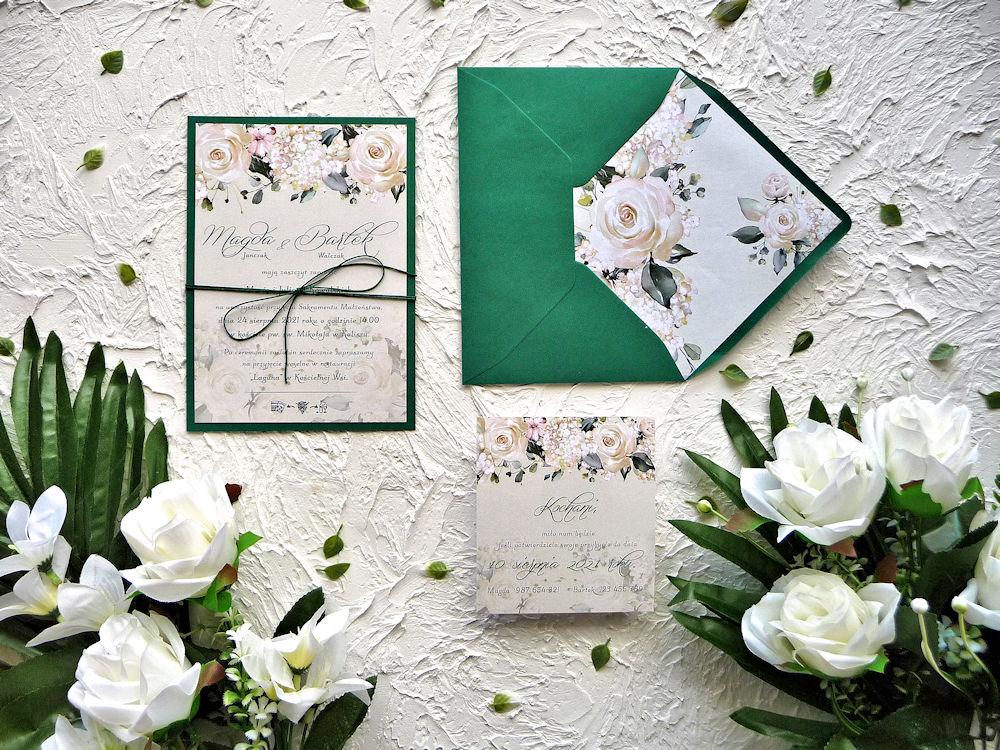 Zaproszenia ślubne ZR84 kremowe róże