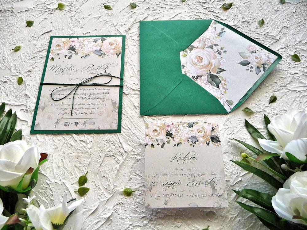 Zaproszenia ZR84 kremowe róże ujęcie 2