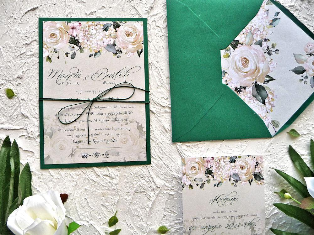 Zaproszenia ZR84 kremowe róże ujęcie 3