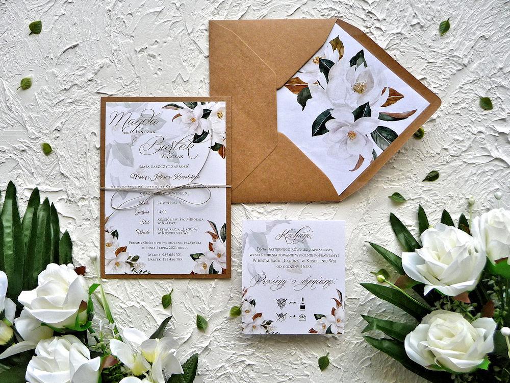 Zaproszenia ślubne ZR84 rustykalne Magnolie